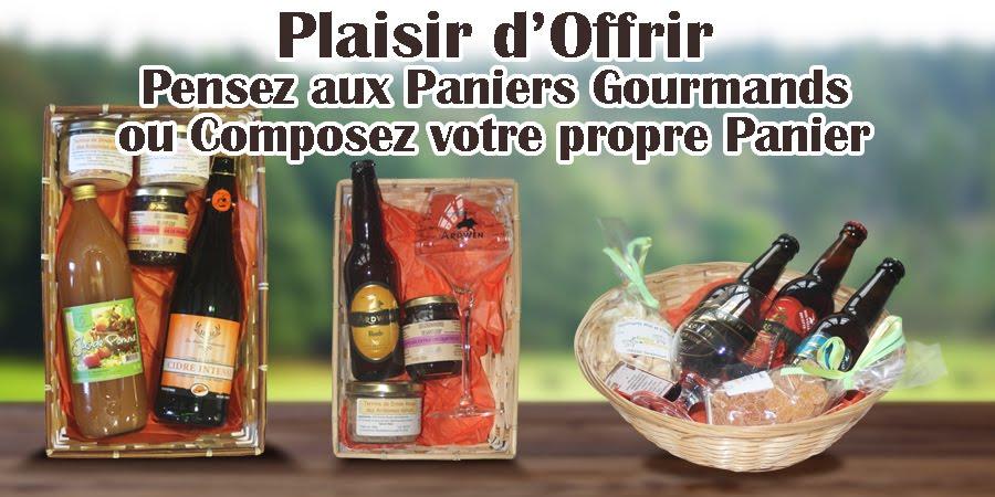 Composition affiche des Paniers Gourmands de L'Office de Tourisme des Crêtes préardennaises