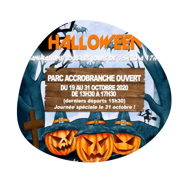 affiche spécial vacances de Toussaint et Halloween pour le Chêne Perché